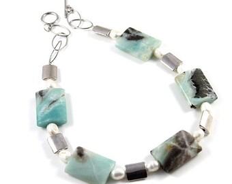 Amazonite Gemstone silver beaded handmade jewellery