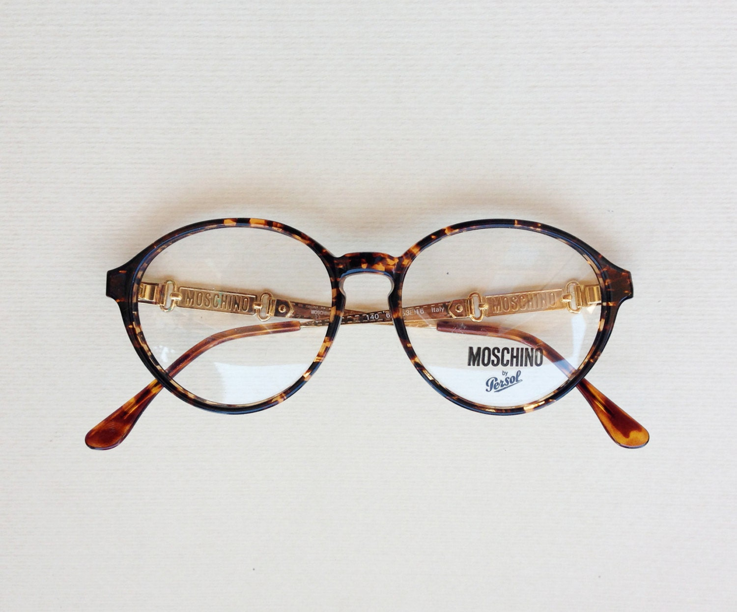 moschino by persol vintage eyeglasses 80s gold brown