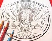 Angel with Lotus Flower - Mandala Coloring Page (single page) to print and color - Instant download PDF - Plus Coloring Tips