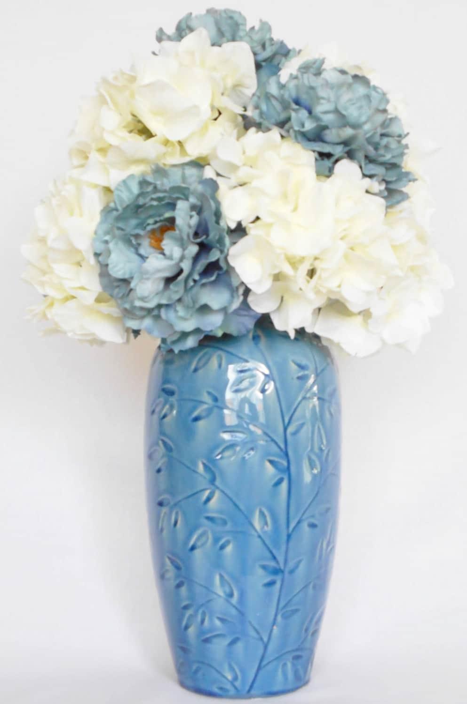 Artificial Flower Arrangement Teal Peonies Amp White Hydrangea