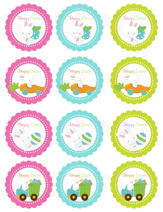 Happy easter kids cute easter gift tags printable diy file for Easter name tags template