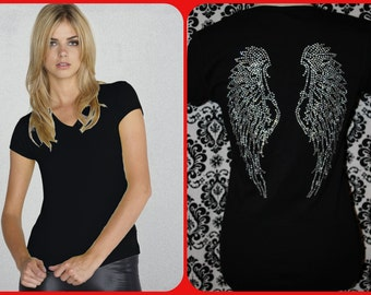 V-NECK with rhinestones wings SIZE M