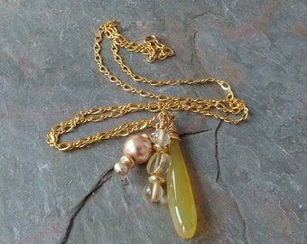 Lemon Chalcedony Pendant Necklace with Pearl & Natural Citrine, Gold, Handmade