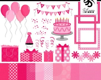 Birthday Clipart & Digital Paper Set-Pink-Girl-Celebration-Party-Scrapbooking-Card Making-Balloons-Banners-Cake-Instant Download Clip Art