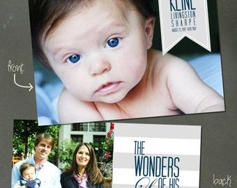 "Custom Christmas Card/Birth Announcement: ""Wonders of Your Love"""