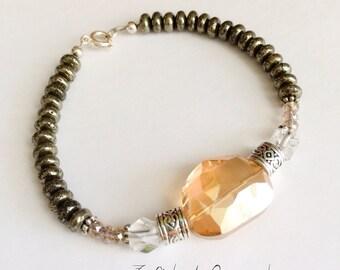 Pyrite bracelet, beaded bracelet, pyrite, citrine, bracelet, silver, designer inspired, champagne colored, swarovski, crystals