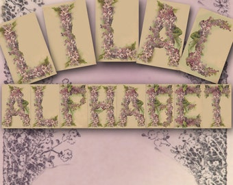 Vintage Lilac Alphabet - Digital Collage Sheets - Entire Alphabet on Three Sheets - Floral Letters - Instant Download