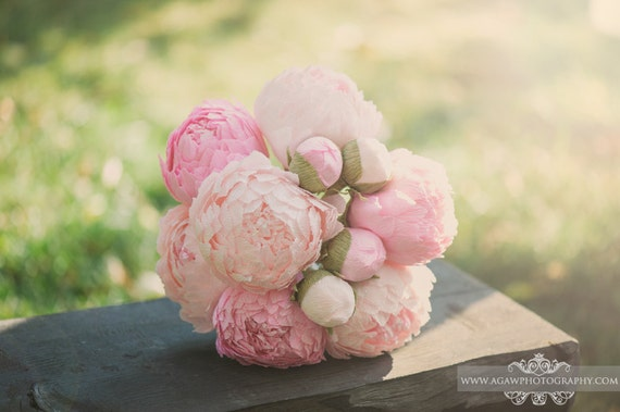 paper peonies, paper flowers, wedding paper bouquet