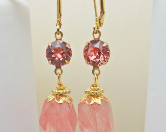 Earrings Gorgeous Cherry Quartz on Gold Rose Pink Swarovski Chaton