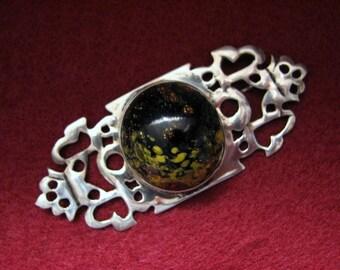 "OOAK Vintage ART GLASS and Sterling Silver Brooch -- 3"" Long, 21.3 Grams, Hand-Pierced, Artist Signed"