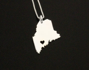 Maine necklace Personalized Engraving sterling silver Maine state necklace with heart comes with Box style chain - Hometown jewelry Gift