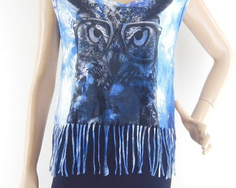 Owl Glasses Tank Top Dyed Fabrics Graphic Tee Funny Tank Top Women Crop Top Tee Shirt Owl T- Shirt Screen Print Size M