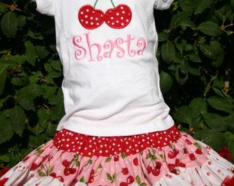 Ari's Angels girls Cherries Applique full skirt