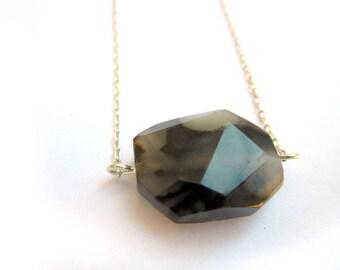Black and White Gemstone, Large Gemstone Necklace, Sardonyx Necklace, Faceted Gemstone Necklace, Black and White Necklace, Neutral Necklace