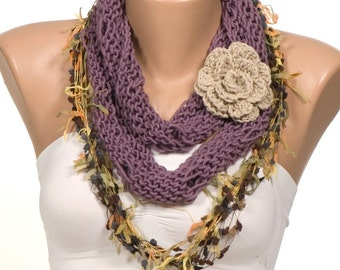 SPRING Scarf. Purple and Stone and Colorful. Three-piece scarf. New Season scarf. Mothers Day.