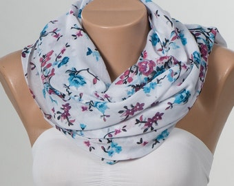 NEW Scarf , shawl.  Holiday scarf. White and blue and pink flowers long scarf shawl. Spring branches women ly.