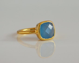 Faceted Blue Chalcedony ring - square ring, square stone ring, stacking bezel ring, gemstone gold ring, statement ring, birthstone gifts