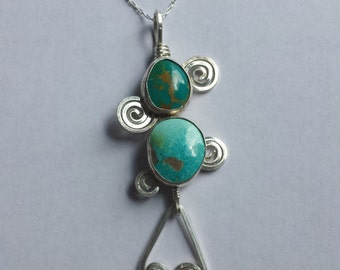 Sterling Silver Turquoise Swirl Necklace