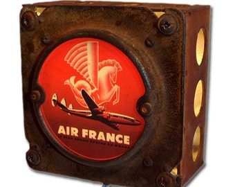 Rustic Air France Night Light Luggage Label (Red)