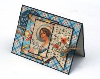 Vintage Beach theme card, you are my anchor, Blue sea shore blank card, starfish, romantic card