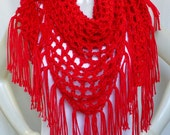 Red Shawl with Fringe, Crochet Shawl, Triangle Shawl, Boho Style, Women's Accessories, Casual Shawl, Handmade in the USA, Ready to Ship
