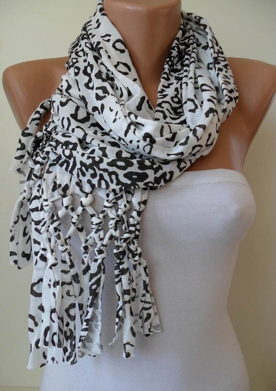 Christmas Gift  White Leopard Scarf - Combed Cotton