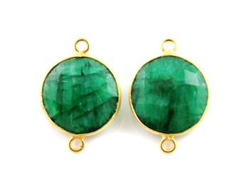 Natural Emerald, Bezel Coin Shape Component,  Gold Vermeil,    15 mm, 1 Piece, (BZC7273/EMLD)