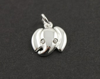Sterling Silver  Elephant Charm / Pendant with Jump Ring, Wild Life Jewelry Component, (SS/CH7/CR53)