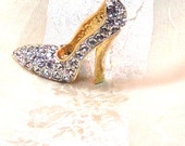 Vintage Brooch Crystal Encrusted Stiletto Estate Jewelry Silver & Gold High Heel Pump Pin