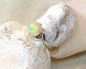 Opal Swirl Style Ring or Engagement Ring Handmade Jewelry