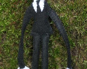 Slenderman doll,handmade felt slenderman doll, creepy decor, desk decor, halloween decorating