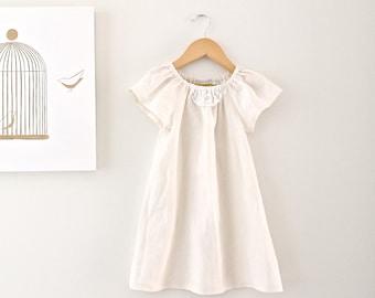 Toddler Girls Linen Peasant Dress Ivory Cream-Vintage Doily-Girls Jumper-Baby Tunic-Flower Girl Dress-Children Clothing Chasing Mini