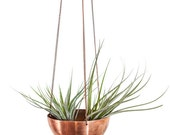 Large Hanging Planter/Basket with hand spun copper/ brass bowl / Modern Planter / Plant Hanger / Minimalist Home Decor