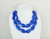 Cobalt Blue Statement Necklace, Chunky Beaded Cobalt Necklace, Double Strand Blue Bib Necklace, Blue Bridesmaid Necklace