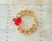 Chunky Gold Chain Bracelet with Red Heart Charm, Lightweight Bracelet