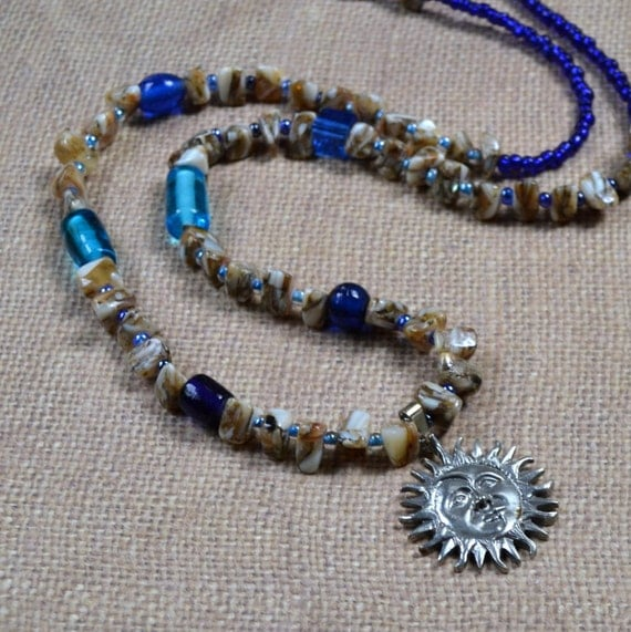 SALE Silver Sun Shell Necklace - Aqua Cobalt Blue Glass Beads - Summer Caribbean Beach Fun - Boho Fashion Beaded Jewelry - Moon Pendant