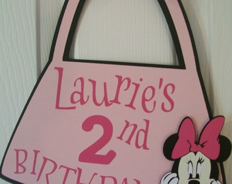 Minnie Mouse Birthday Party Sign - Minnie Mouse Birthday Decoration- Minine Mouse 2nd Birthday
