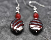 Silver Raspberry Metallic Striped earrings, made with faceted red czech cystal beads - BBTAR