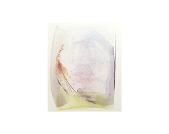 "Original watercolor abstract painting. Delicate minimal artwork in soft purple and yellow 6""x6.5"""