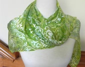 Shades of Green Devore Satin Scarf Hand Dyed, Long Silk Scarf, ready to ship, #353