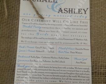 Programs for Wedding - RUSTIC or BEACH THEME Programs with Twine - Personalized Color and Motif at no extra charge