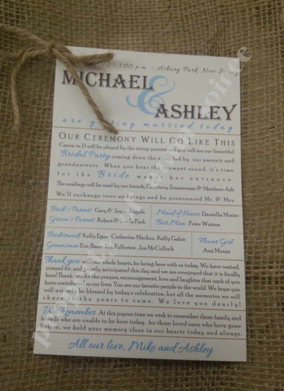 Beach Theme Wedding Vows : Rustic or beach theme wedding ceremony programs with twine