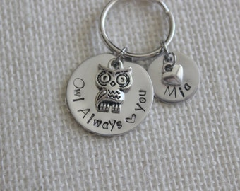"""Personalized Handstamped Keychain with owl charm and """"Owl Always Love You,"""" with silver heart charm."""