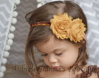 Baby Headband, Mustard Fall Headband, Thanksgiving headband, newborn photo prop, infant headband, First thanksgiving, baby accessories