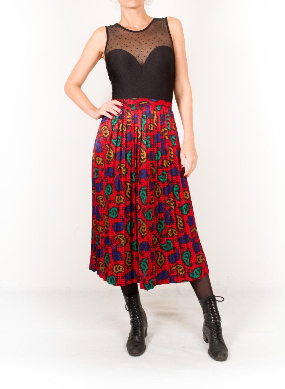 vintage shiny pleated skirt colorful midi skirt