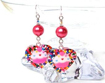 Cupcake earrings, candy heart sprinkle earrings, pink, cute, harajuku, kawaii sprinkles resin jewelry, Valentine's Day jewelry