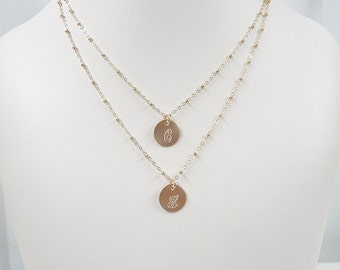 Gold Filled Layered Initial Necklace - Satellite Chain - Two Monogram Charms -  Double Strand - Layering Necklaces