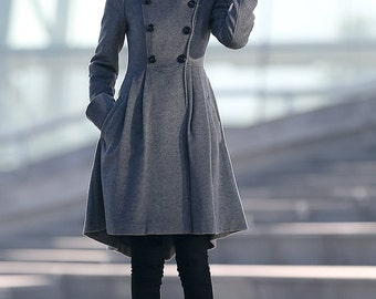 Gray Swing Coat - Asymmetrical Double-Breasted Wool Blend Autumn Winter Woman's Coat with Big Cuffs & Pockets C157