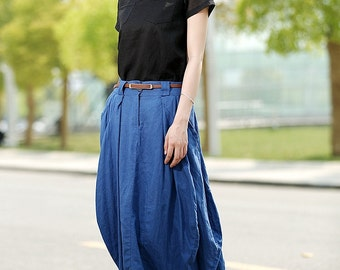 Blue linen skirt maxi women skirt long skirt (C361)