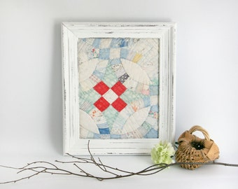 Framed Antique Quilt Piece - wall decor white red blue upcycled white frame shabby chic cottage farmhouse nursery childs room decor